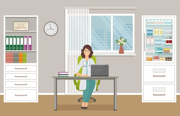Woman doctor in uniform sitting at the desk in doctor's office. medical consulting room interior.