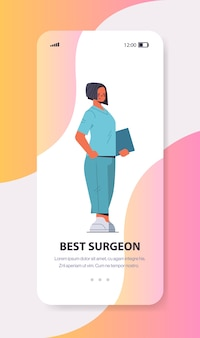 Woman doctor in uniform on smartphone screen online consultation medicine healthcare concept full length vertical copy space vector illustration