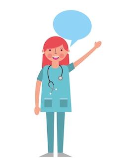 Woman doctor in uniform with stethoscope speech bubble