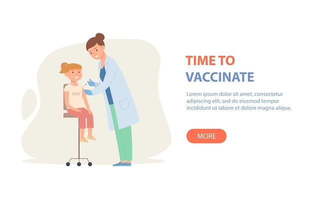 Woman doctor vaccinates the girl good immunity in kids vaccination against covid19 or influenza