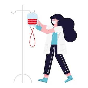 Женщина-врач с мешком крови на белом фоне