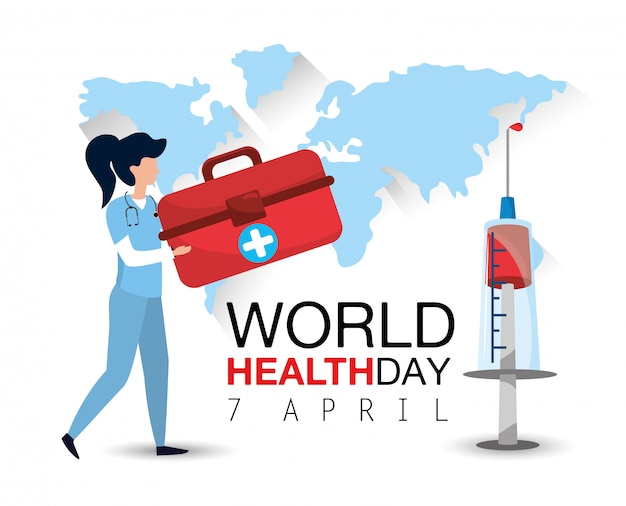 Woman doctor with first aid and syringe to health day