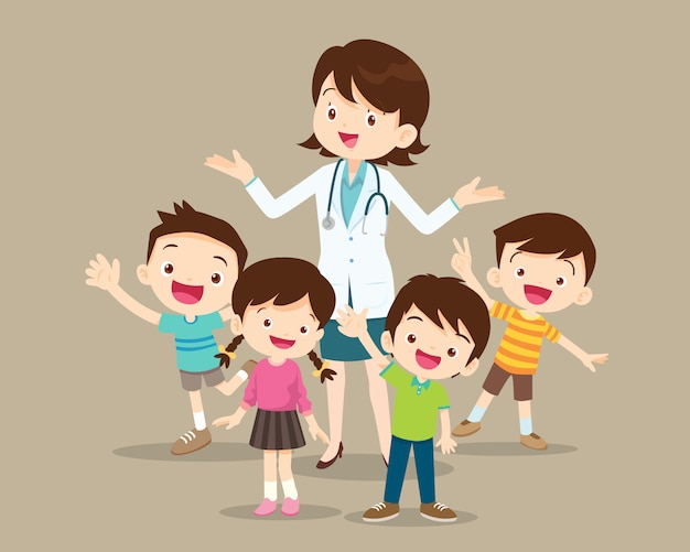Woman doctor with kids happy