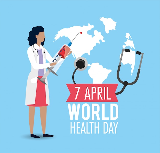 Woman doctor with syringe to health day