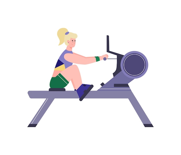 여자는 고립 된 체육관 트레이너 평면 벡터 일러스트와 함께 스포츠 운동을 않습니다