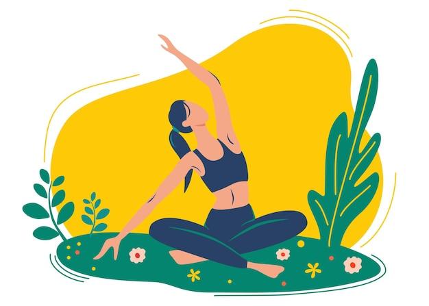 女性はヨガの練習、ヨガのポーズをします。屋外ヨガのコンセプト。自然の中でのヨガのクラス。健康的なライフスタイルのコンセプト。ヨガスクール、スタジオのウェブページテンプレート。ベクトルイラスト