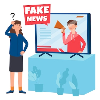 Woman doesn't believe the fake news
