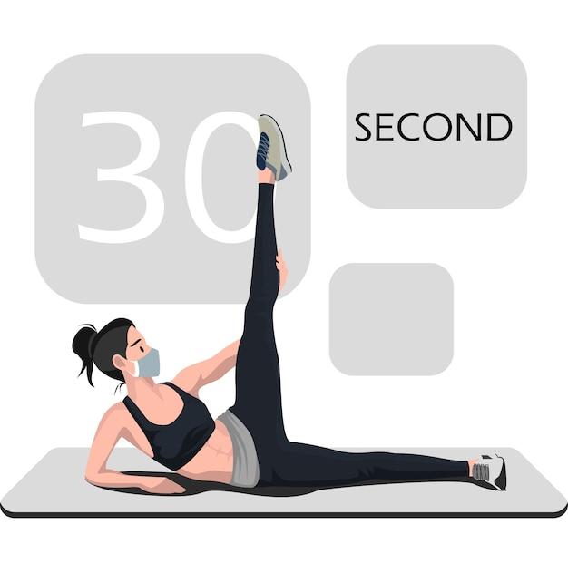 30 초 운동 포즈를하는 여성
