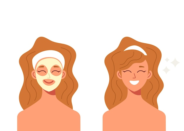 Woman doing beauty procedure mask.    illustration