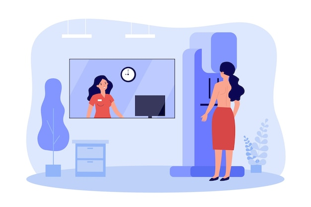Woman doing breast examination in clinic in flat design