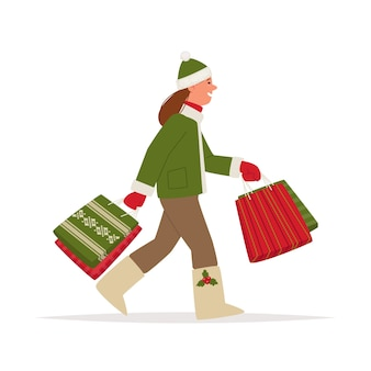 Woman doing the christmas shopping
