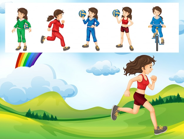 Woman doing different kinds of sports illustration