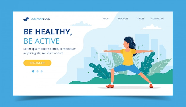 Woman doing exercises in the park landing page