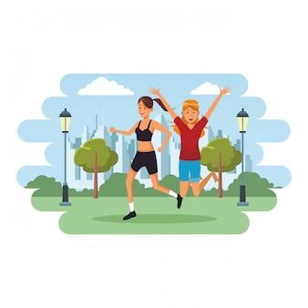 Woman doing exercises parkscape