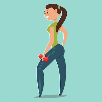 Woman doing fitness exercises with dumbbells. cute cartoon girl vector character isolated. healthy lifestyle and sport illustration.
