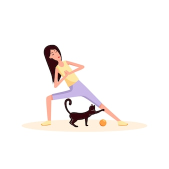 Woman doing gymnastics near to her cat play ball color vector flat cartoon icon sport lifestyle