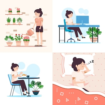 Woman doing her daily activities