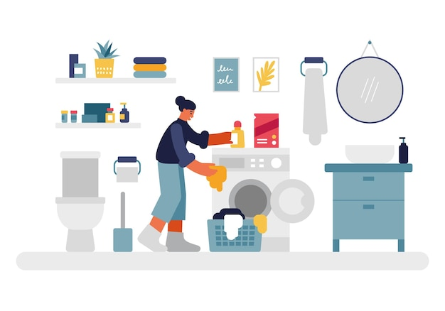 Woman doing laundry illustration. female character puts things in washing machine and pours in liquid detergent. cozy bathroom with toilet and shelves round mirror above bedside table vector flat.