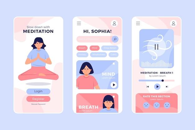 Женщина делает мобильное приложение для медитации позы лотоса йоги