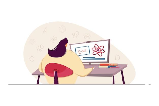 수학 계산을 하는 여자. 컴퓨터를 사용하여 수학 과제를 해결하려고 하는 젊은 여성. 솔루션을 찾고 있습니다. 과학, 배너, 웹 사이트 디자인 또는 방문 웹 페이지에 대한 지식 개념 프리미엄 벡터