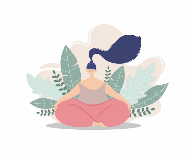 A woman doing meditating with leaves on the background