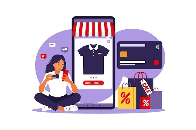 Woman doing online shopping modern concept illustration