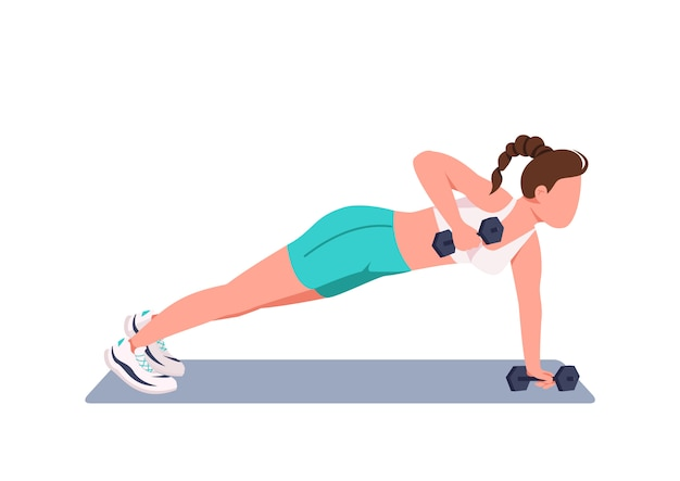 Woman doing push ups with dumbbells flat color faceless character