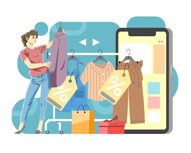 オンラインショッピングのコンセプトをやっている女性