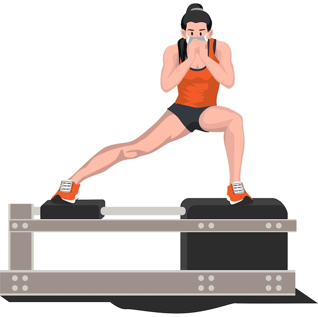 Woman doing side lunge pose at home