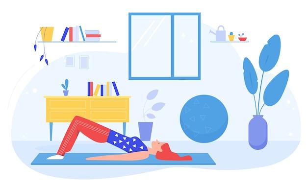 自宅でスポーツ体操をしている女性