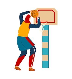 Женщина занимается спортом, девушка играет в баскетбол
