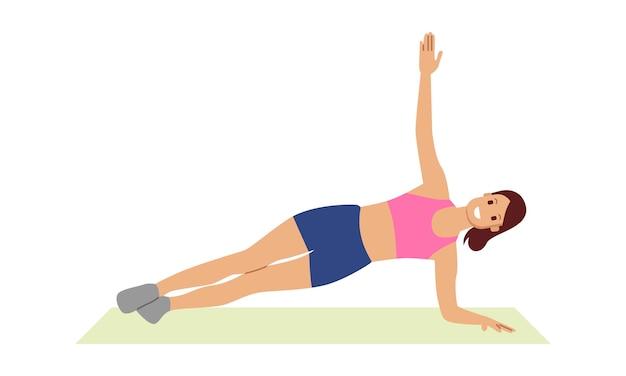 Woman doing sports lying on mat