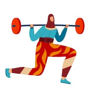 Женщина занимается спортом, силовая тренировка по поднятию штанги
