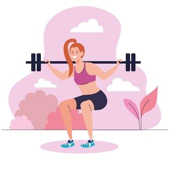 무게 바 야외, 스포츠 레크리에이션 운동으로 스쿼트를하는 여자