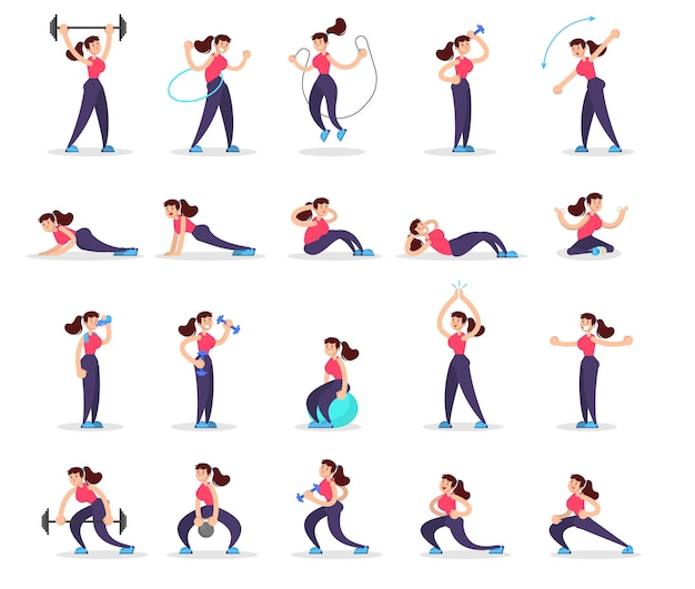 Woman doing various sport exercise set. training in the gym