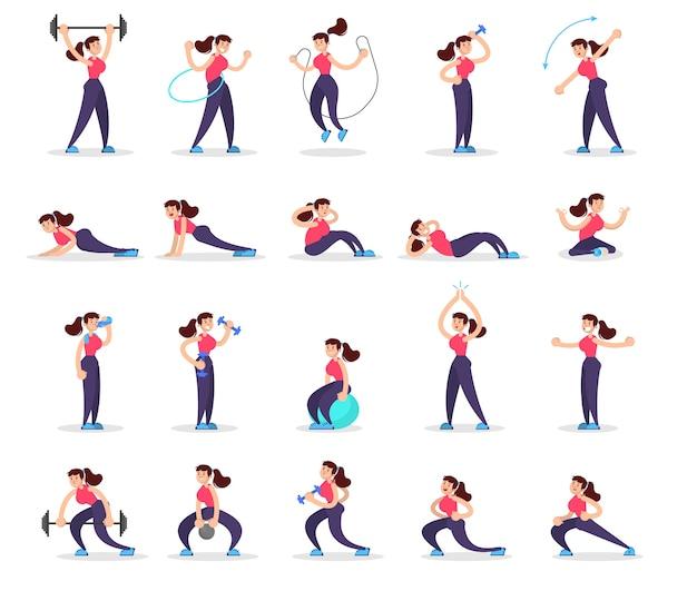 様々なスポーツ運動セットをしている女性。ジムでのトレーニング