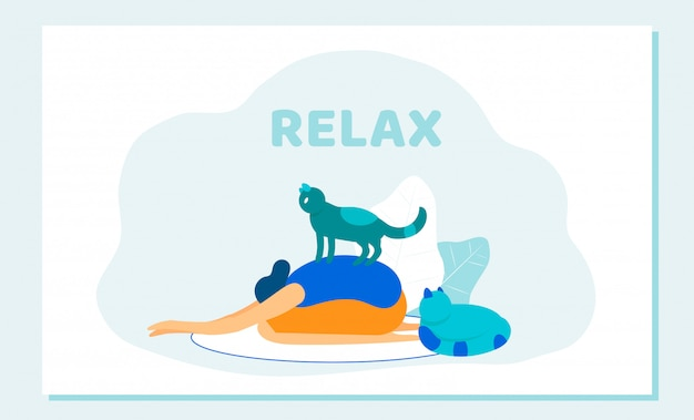 Woman doing yoga asana cat sitting on her back.