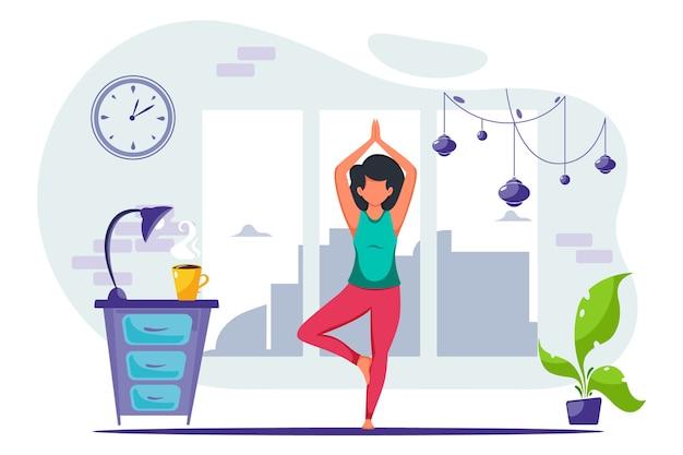 집에서 요가하는 여자. 건강한 라이프 스타일, 요가, 명상에 대한 개념 그림. 플랫 스타일로
