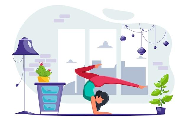 Женщина занимается йогой дома в современном интерьере. в плоском стиле