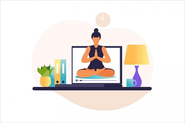 요가 연습을 하 고 여자입니다. 인터넷 요가 코스 개념. 집에서 건강과 건강한 생활 방식. 온라인 트레이너와 요가 수업. 여자는 원격으로 수업을 가르칩니다. 평면에서 그림입니다.
