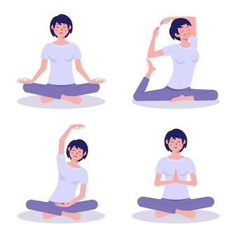 Женщина делает плоский дизайн йоги