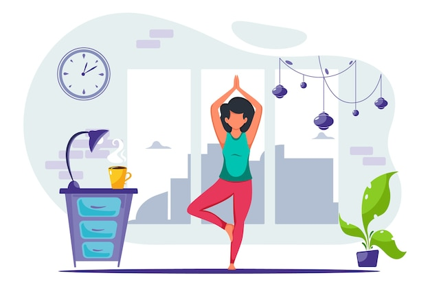 Woman doing yoga at home. concept illustration for healthy lifestyle, yoga, meditation.  in a flat style