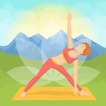 山でヨガをしている女性。瞑想とリラクゼーション。