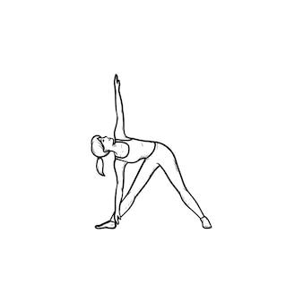 Женщина делает йогу в позе треугольника рисованной наброски каракули значок. расслабление, фитнес-деятельность, концепция баланса. векторная иллюстрация эскиз для печати, интернета, мобильных устройств и инфографики на белом фоне.