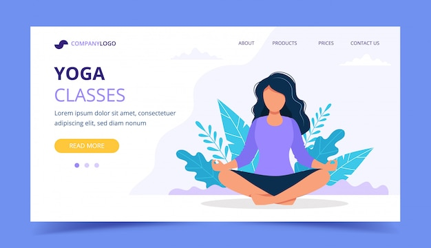 Woman doing yoga landing page. woman sitting in asana in the park.