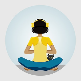 Woman doing yoga, listening to music, female character in wireless headphones in lotus position. back view  illustration.