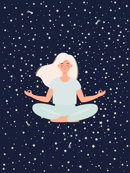 Woman doing yoga in lotus pose on starry sky background.