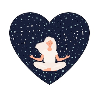 Woman doing yoga in lotus pose on starry sky heart shaped background
