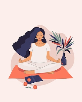 Woman doing yoga in lotus position