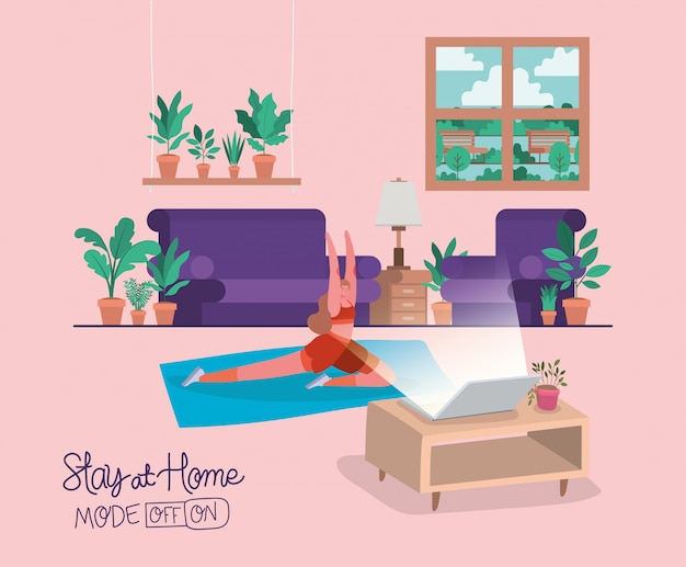 Woman doing yoga on mat in front of laptop design of stay at home theme